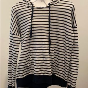 Lightweight hooded striped long sleeve sweatshirt
